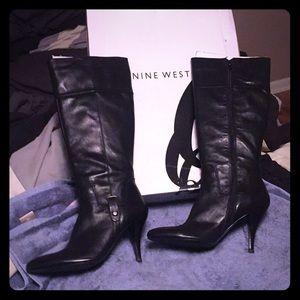 Nine West-Manhunto Black Leather Knee High Boots